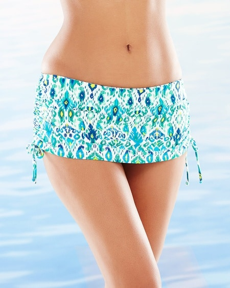 Ikat Adjustable Skirted Swim Bottom Blue
