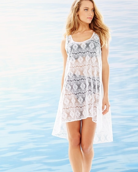 Crochet Tunic Cover Up White