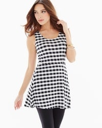 Live. Lounge. Wear. Soft Jersey Sleeveless Peplum Tunic Grand Gingham