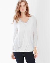 Live. Lounge. Wear. Soft Jersey Wrap Top Ivory