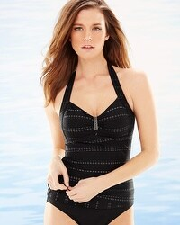 Captiva Summery Glow Reef Halter Tankini Top Black