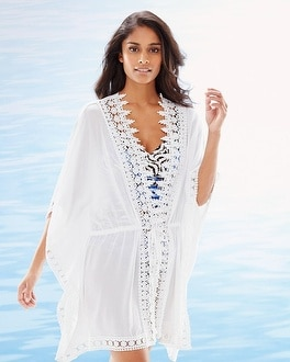 La Blanca Costa Brava Crochet Trim Kimono Swim Cover Up White