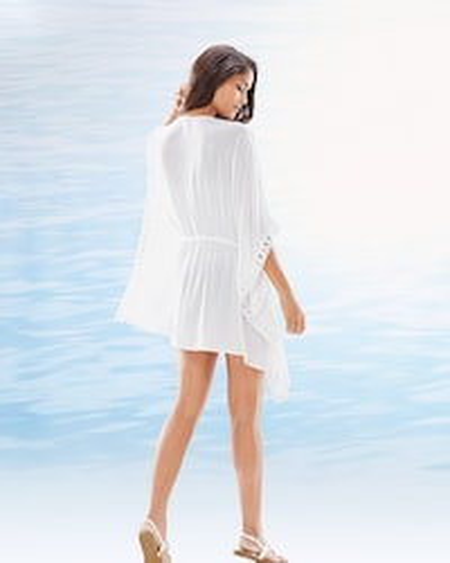 Costa Brava Crochet Trim Kimono Swim Cover Up White Soma