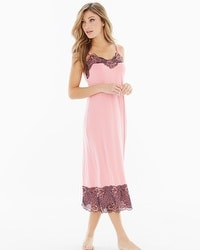 Floral Trellis Lace Tea Length Nightgown Blush Pink/Black