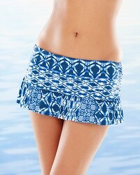 La Blanca Tangier Tile Skirted Swim Hipster Bottom Blueberry