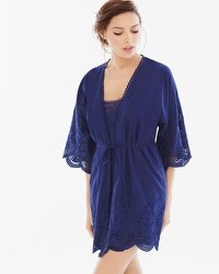 In Bloom by Jonquil Capistrano Cotton Short Robe Navy
