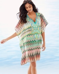Lucky & Coco Embellished Chevron Swim Cover Up