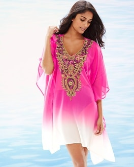 Lucky & Coco Embellished Ombre Rose Swim Cover Up