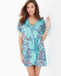 In Bloom by Jonquil Sea Isle Short Robe Aqua Multi