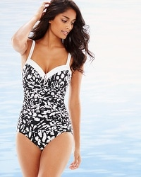 Miraclesuit Bold Print Arianna One Piece Swimsuit Black/White