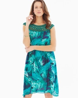 Chiffon Overlay Short Dress Palm Atlantis Jade
