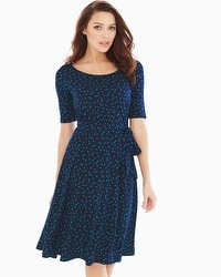 Elbow Sleeve Fit and Flare Dress Wishful Dot Navy