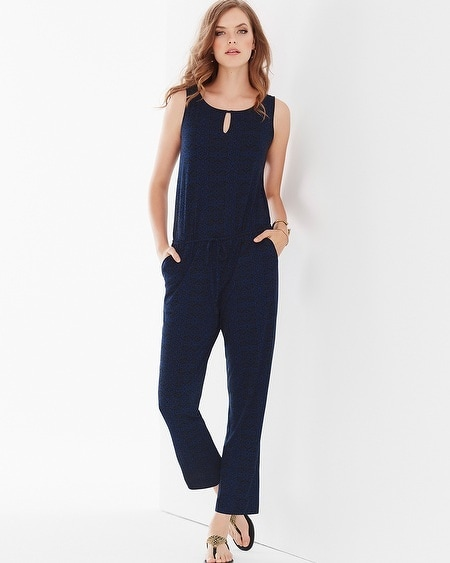 Soft Jersey Ankle-Length Jumpsuit Coastal Geo