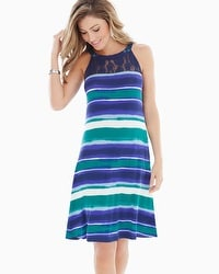 Lace Neckline Swing Dress Sea Stripe