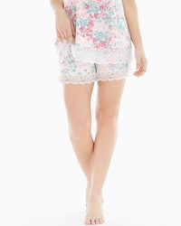 Embraceable Cool Nights Lace Trim Pajama Shorts Lace Petals Ivory