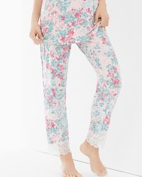 Embraceable Cool Nights Lace Trim Ankle Pajama Pants Lace Petals Ivory