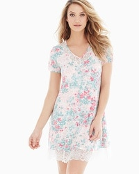 Embraceable Cool Nights Lace Trim Short Sleeve Sleepshirt Lace Petals Ivory