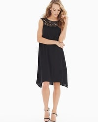 Chiffon Overlay Short Sleeveless Dress Black