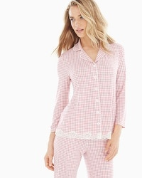 Embraceable Cool Nights Long Sleeve Notch Collar Pajama Top Gingham Blush Pink