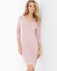 Embraceable Cool Nights 3/4-Sleeve Sleepshirt Gingham Blush Pink