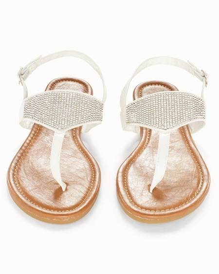 White Rhinestone Flat Sandals