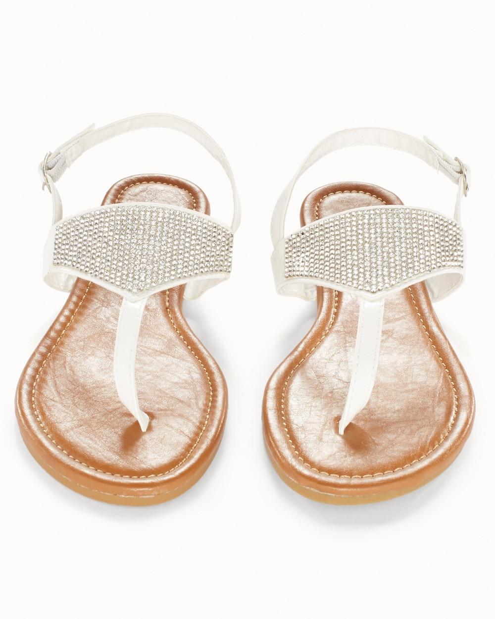 White Rhinestone Flat Sandals - Soma