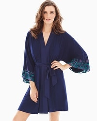 Limited Edition Sensuous Lace Floral Short Robe Navy/Rainforest