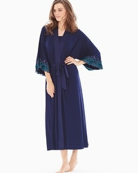 Limited Edition Sensuous Lace Floral Tea Length Robe Navy/Rainforest