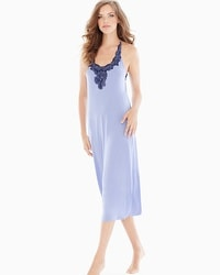 Coastal Floral Lace Tea Length Nightgown Larkspur/Navy