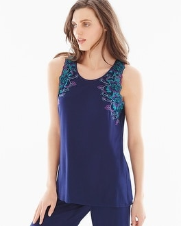 Limited Edition Sensuous Lace Floral Pajama Tank Navy/Rainforest