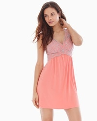 Coastal Floral Lace Sleep Chemise Coral Hype/Smokey Taupe