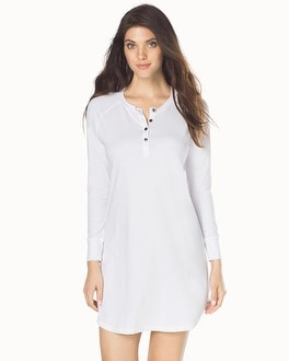 Naked Essential Long Sleeve Cotton Blend Sleepshirt White