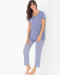 Cool Nights Ankle Pants Pajama Set Finespun Stripe Blue Chill