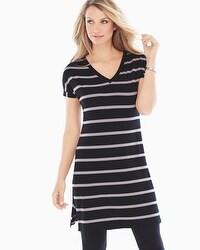 Live. Lounge. Wear. Soft Jersey Midi Tunic Easy Stripe Black