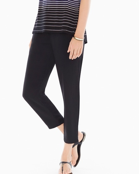 Woven Narrow-Leg Black Pants