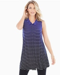 Live. Lounge. Wear. Soft Jersey Button-Down Swing Tunic Amazing Stripe Ombre