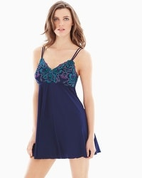 Limited Edition Sensuous Lace Floral Chiffon Sleep Babydoll Navy/Rainforest