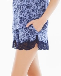 Embraceable Cool Nights Lace Trim Pajama Shorts Provincial Mini Navy