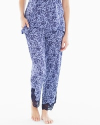 Embraceable Cool Nights Lace Trim Ankle Pajama Pants Provincial Mini Navy