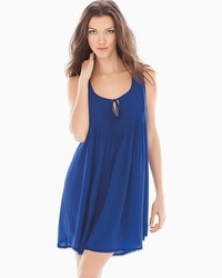 Oscar de la Renta Cotton Crepe Sleep Chemise Lapis Blue