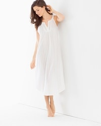 Oscar de la Renta Jacquard Cotton Nightgown Pearl White