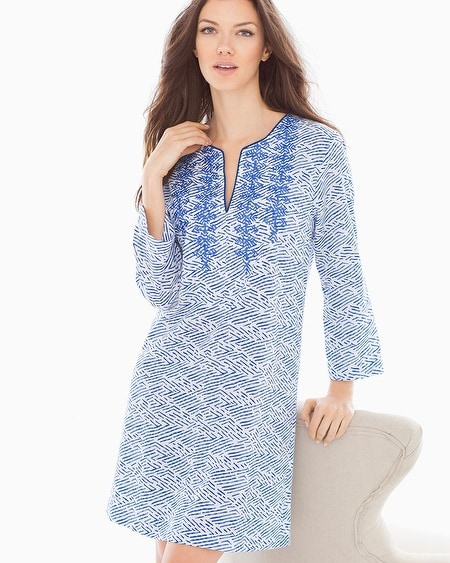 Printed Pima Cotton Sleep Caftan Blue Linear Reflection