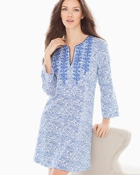 Oscar de la Renta Printed Pima Cotton Sleep Caftan Blue Linear Reflection