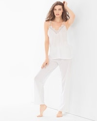 Oscar de la Renta Cluny Lace Cotton Pajama Set White