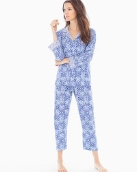 Oscar de la Renta Printed Pima Cotton Pajama Set Blue Diamond Grid