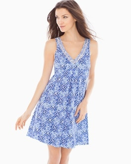 Oscar de la Renta Printed Pima Cotton Sleep Chemise Blue Diamond Grid