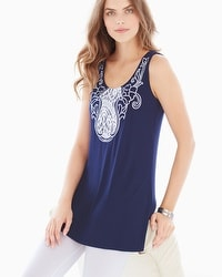 Live. Lounge. Wear. Embroidered Sleeveless Tunic Navy