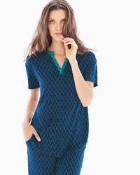 Embraceable Cool Nights Pop Over Pajama Top Pleasant Scroll Navy