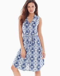 Sleeveless Shirtdress Shibori Stripe Navy