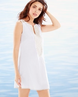 Crochet Trim Sleeveless Cotton Cover Up White